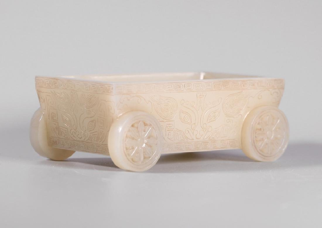 Chinese Carved Jade Rectangular Container - 4