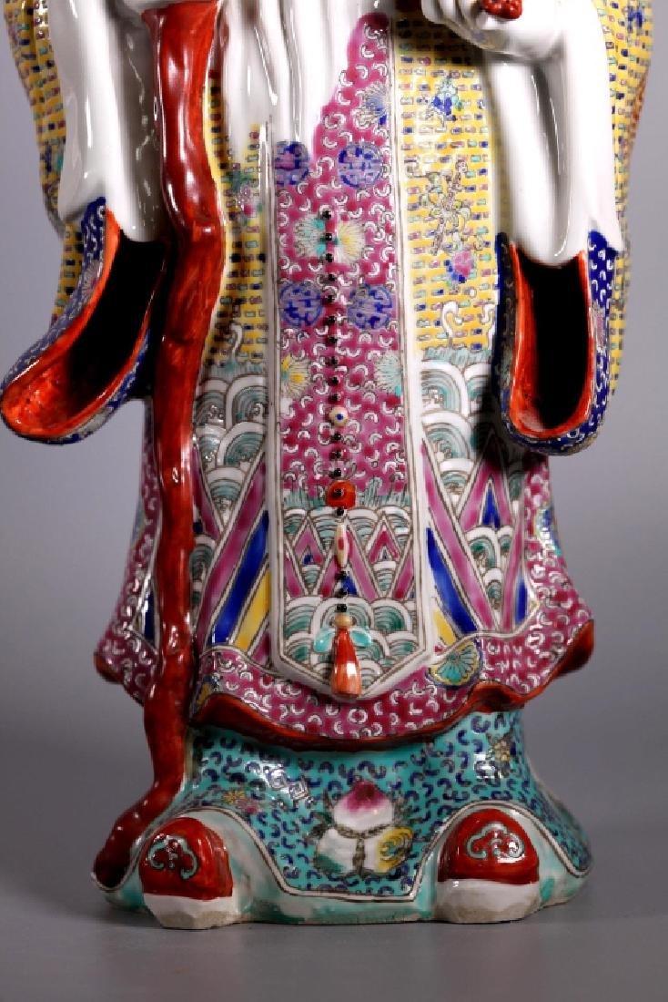 Chinese Enameled Porcelain Figures; Fu Lu Shou - 10