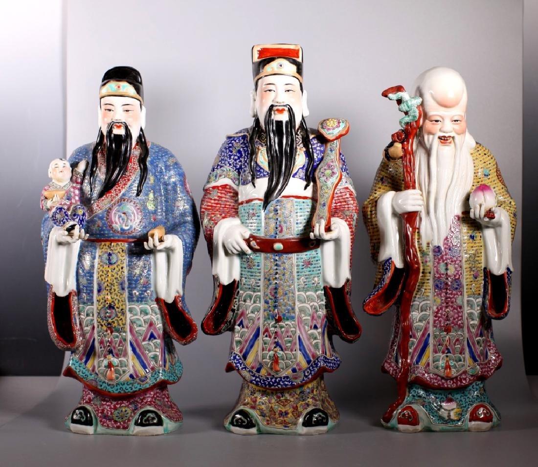 Chinese Enameled Porcelain Figures; Fu Lu Shou