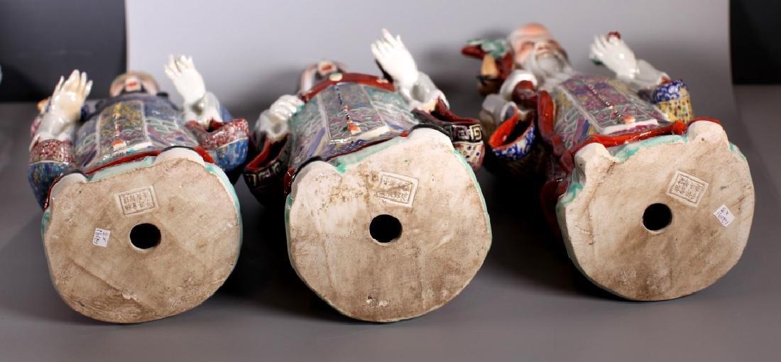 Chinese Enameled Porcelain Figures; Fu Lu Shou - 3