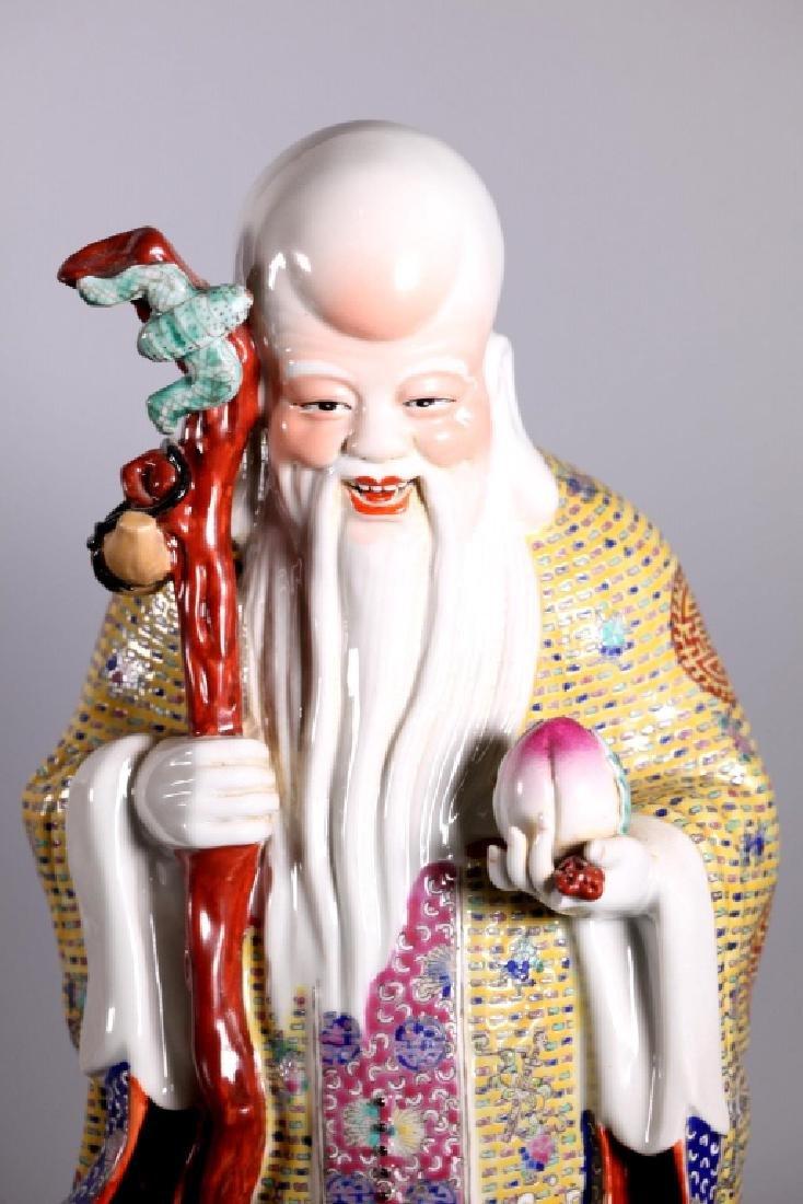 Chinese Enameled Porcelain Figures; Fu Lu Shou - 9