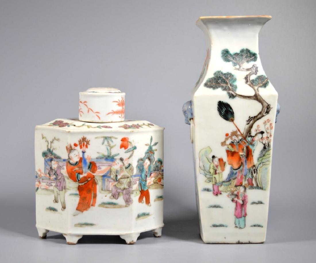 2 Chinese 19C Enameled Porcelains; Vase & Tea Can