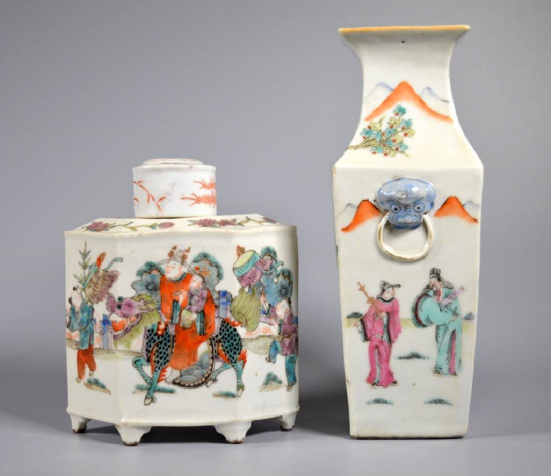 2 Chinese 19C Enameled Porcelains; Vase & Tea Can - 2