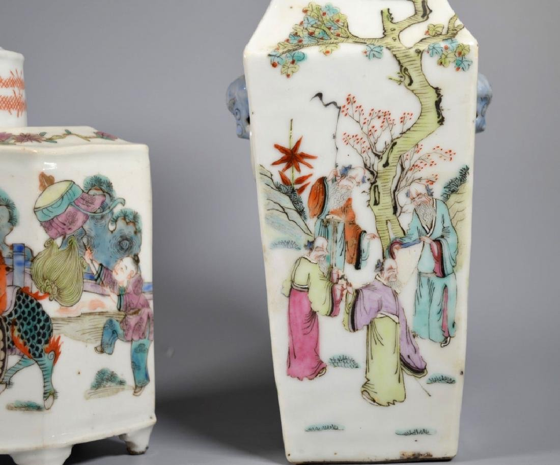 2 Chinese 19C Enameled Porcelains; Vase & Tea Can - 3