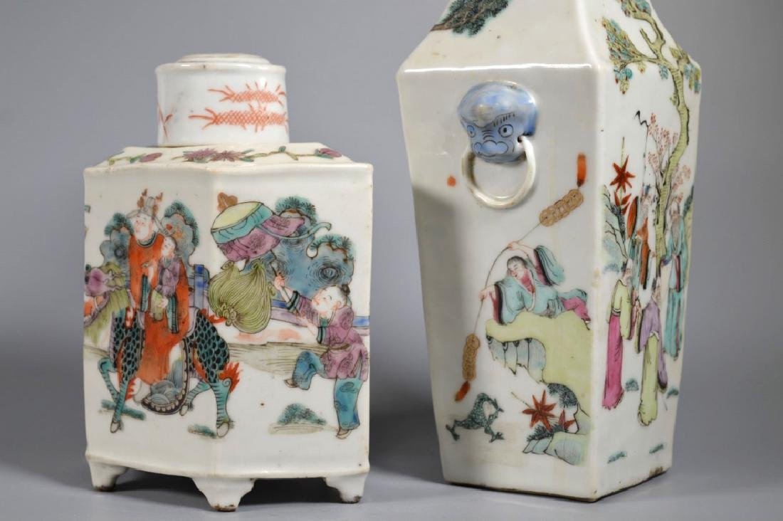 2 Chinese 19C Enameled Porcelains; Vase & Tea Can - 4