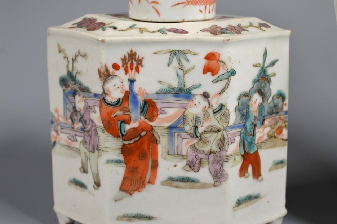 2 Chinese 19C Enameled Porcelains; Vase & Tea Can - 5