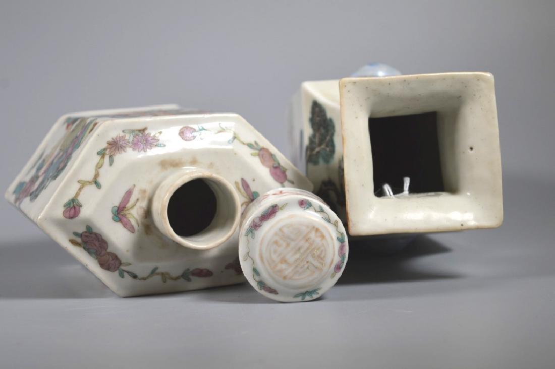 2 Chinese 19C Enameled Porcelains; Vase & Tea Can - 6