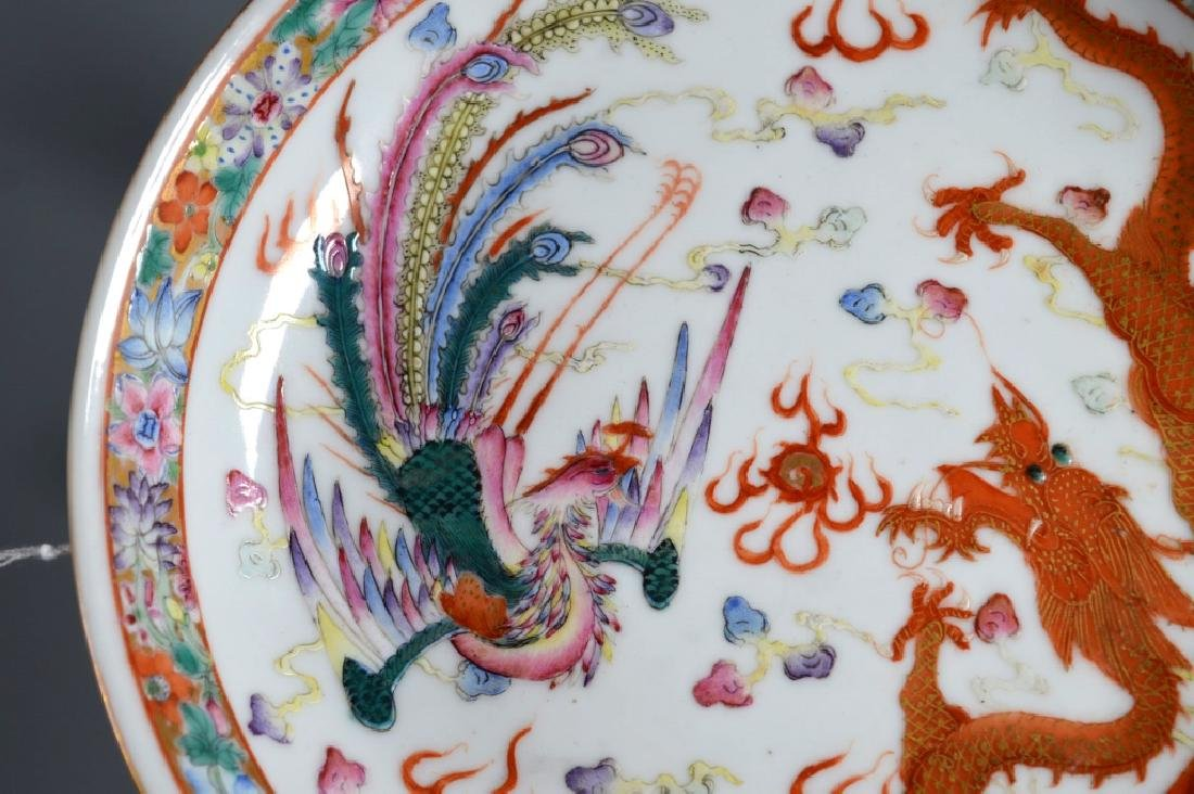 Chinese Porcelain Dragon & Phoenix Plate - 3
