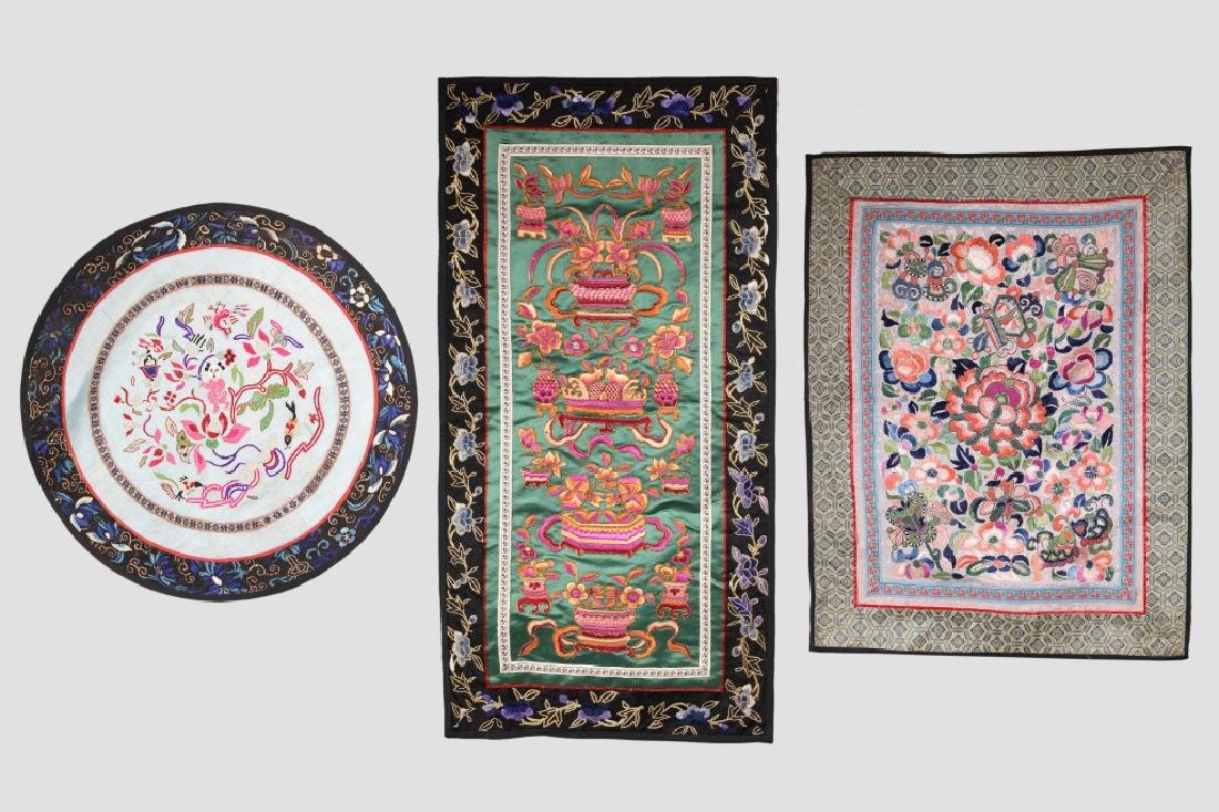 Three Antique Chinese Embroideries Mounted as Mats