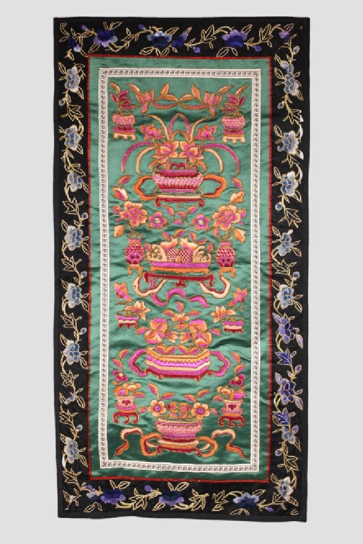 Three Antique Chinese Embroideries Mounted as Mats - 3