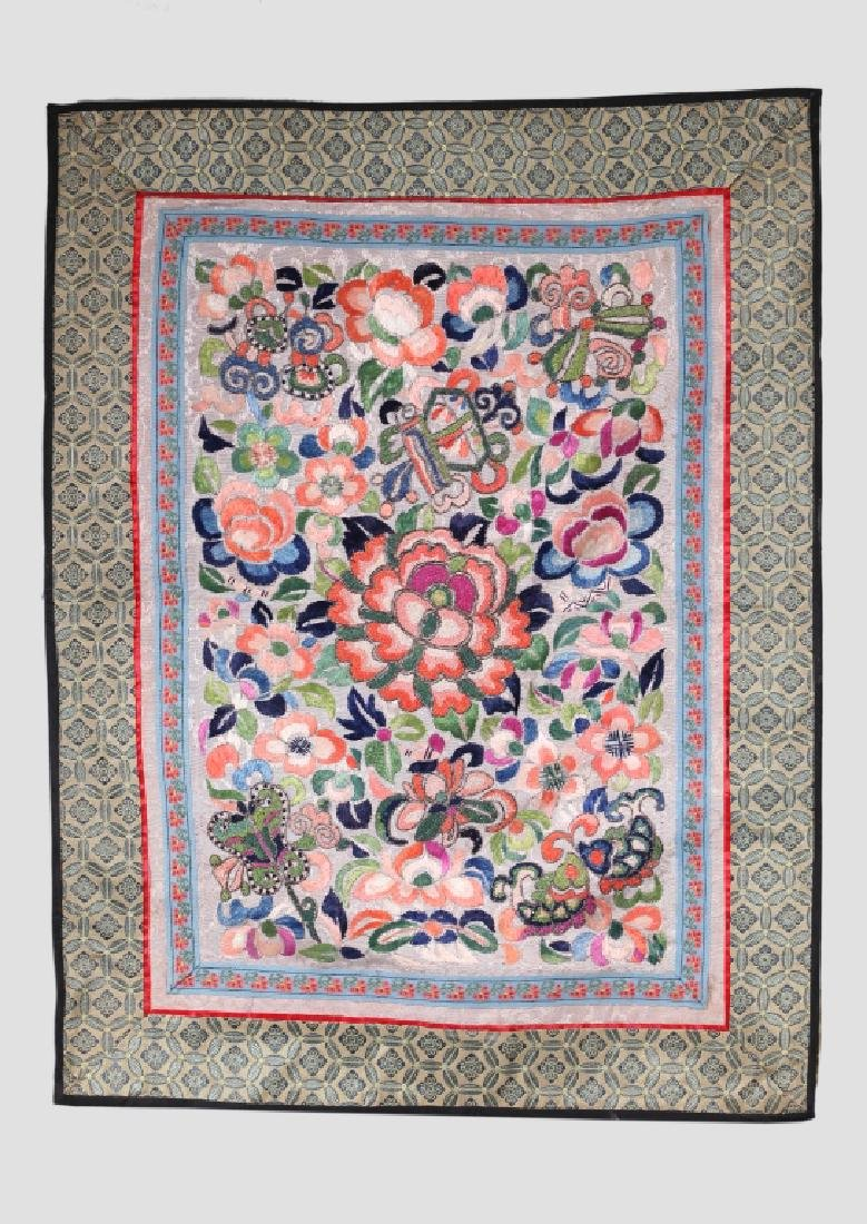 Three Antique Chinese Embroideries Mounted as Mats - 4