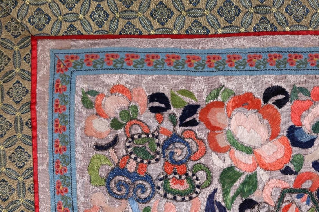 Three Antique Chinese Embroideries Mounted as Mats - 5