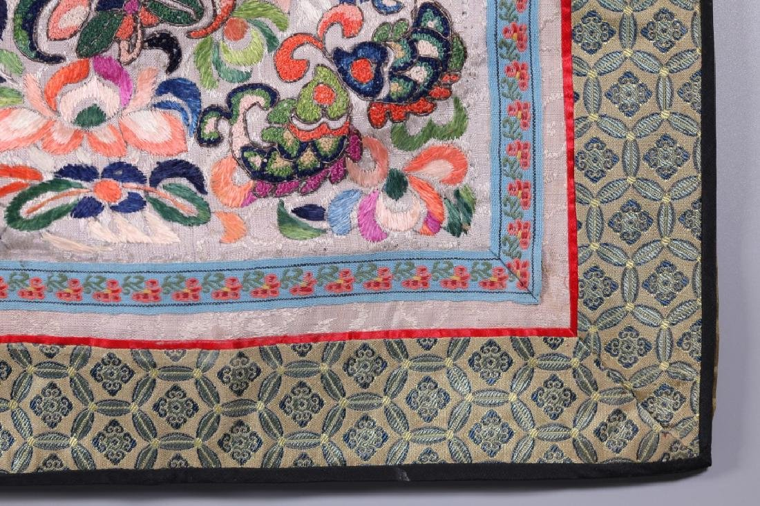 Three Antique Chinese Embroideries Mounted as Mats - 7