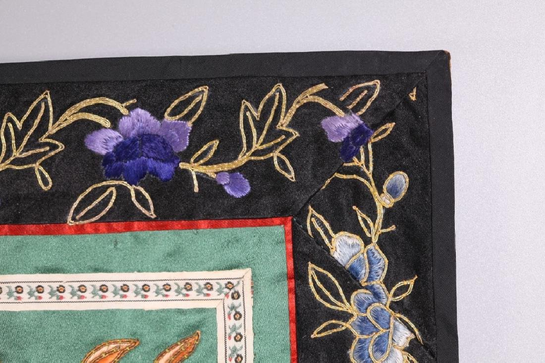 Three Antique Chinese Embroideries Mounted as Mats - 8