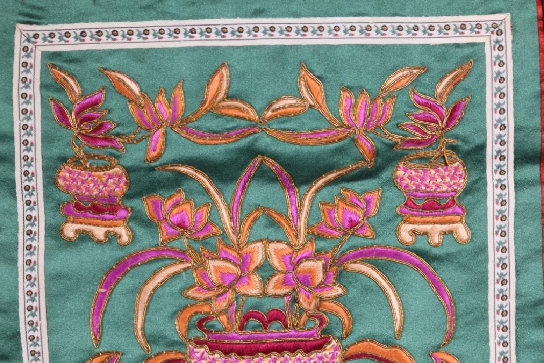 Three Antique Chinese Embroideries Mounted as Mats - 9