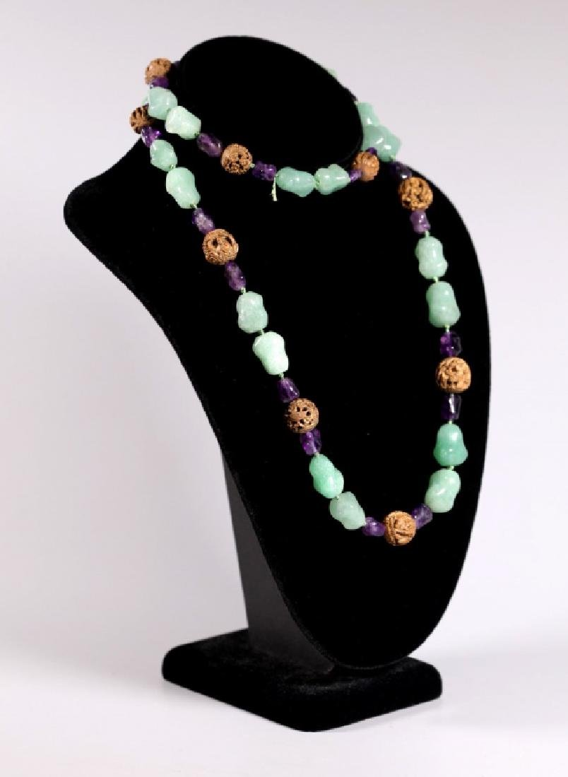 Chinese Chrysoprase, Amethyst & Carved Seed Beads - 2