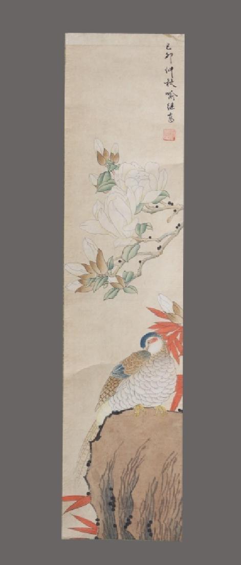 Four Chinese Scrolls; 4 Seasons Birds & Flowers - 10