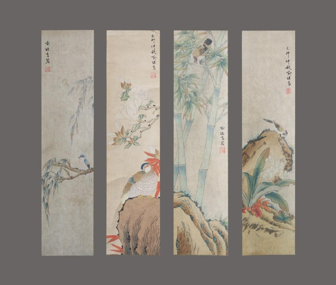 Four Chinese Scrolls; 4 Seasons Birds & Flowers