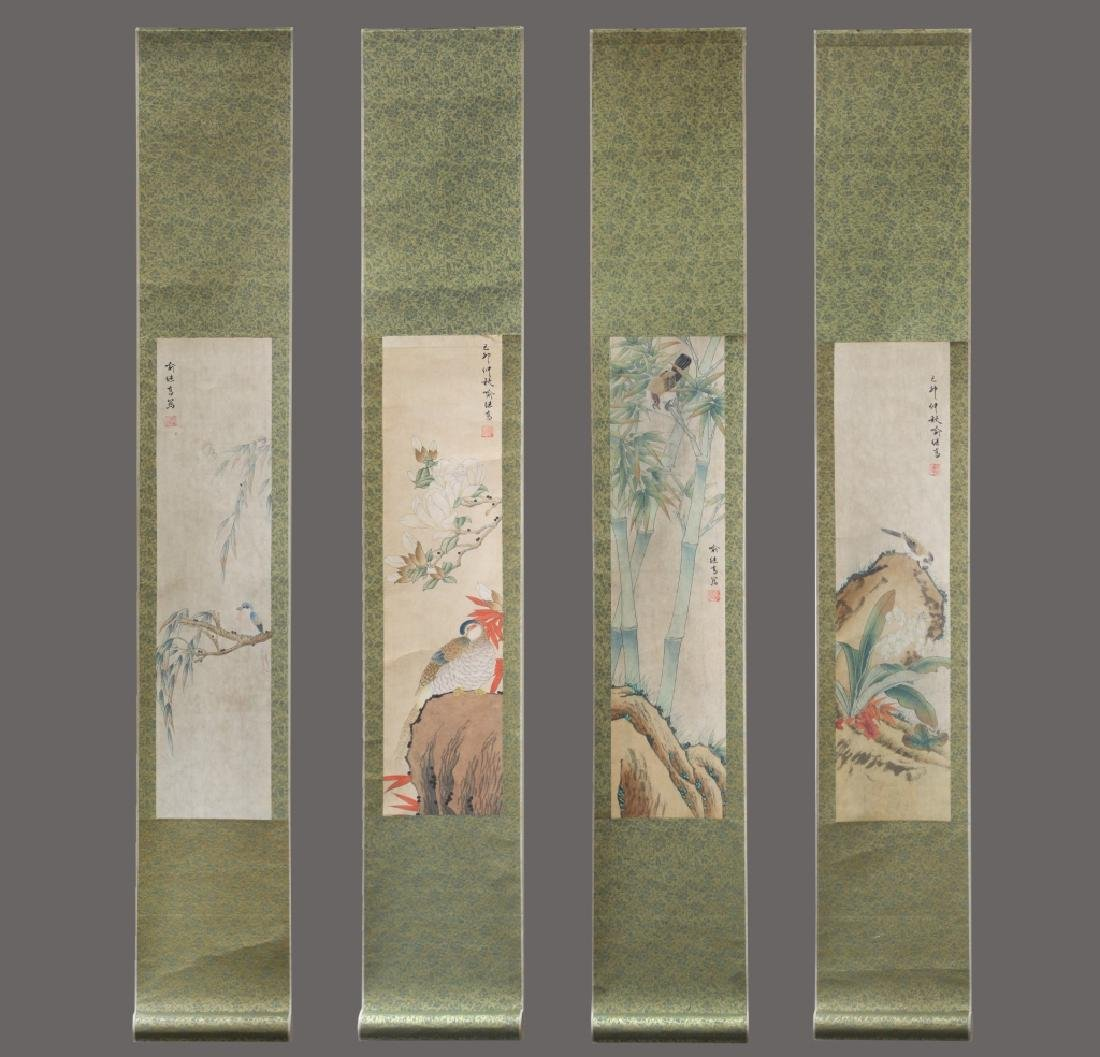 Four Chinese Scrolls; 4 Seasons Birds & Flowers - 3