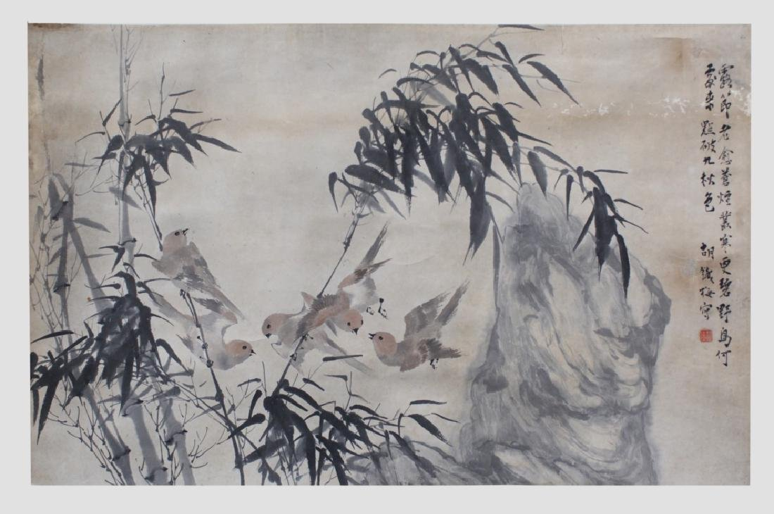 Chinese Ink & Color Painting; Birds & Bamboo