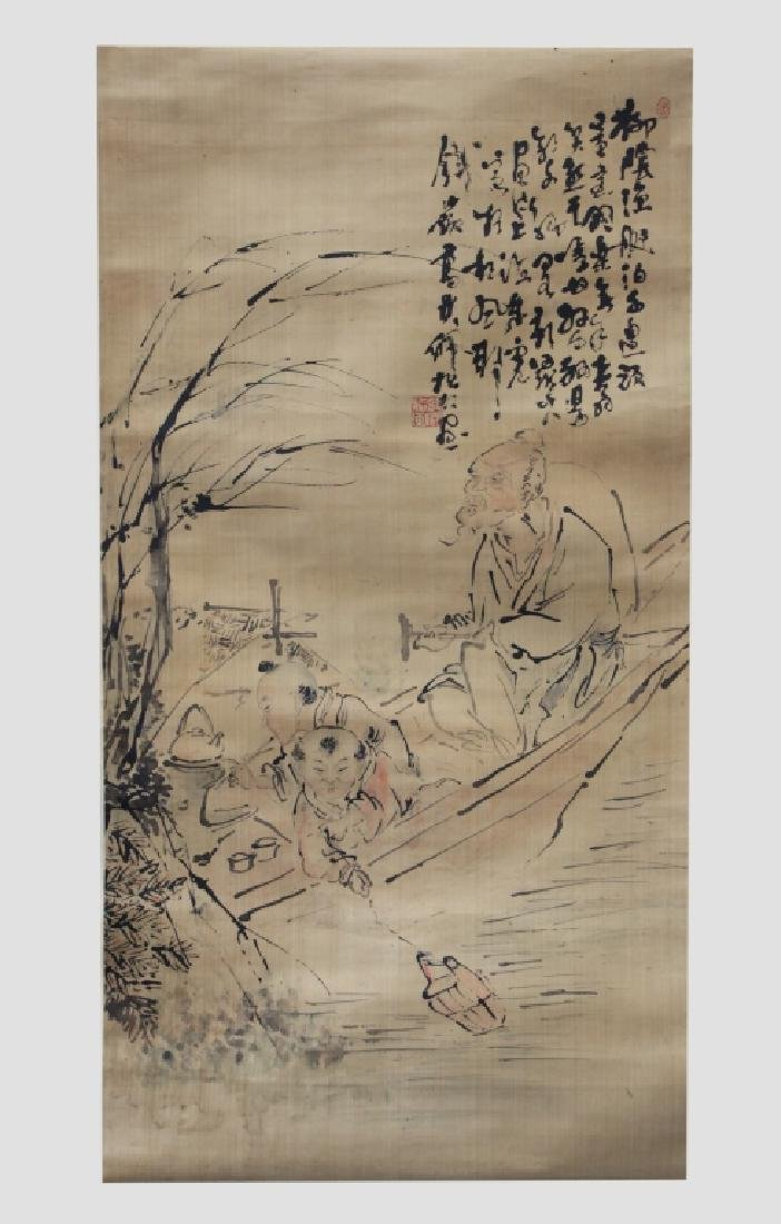 Chinese Ink Painting on Silk; 3 Men Fishing