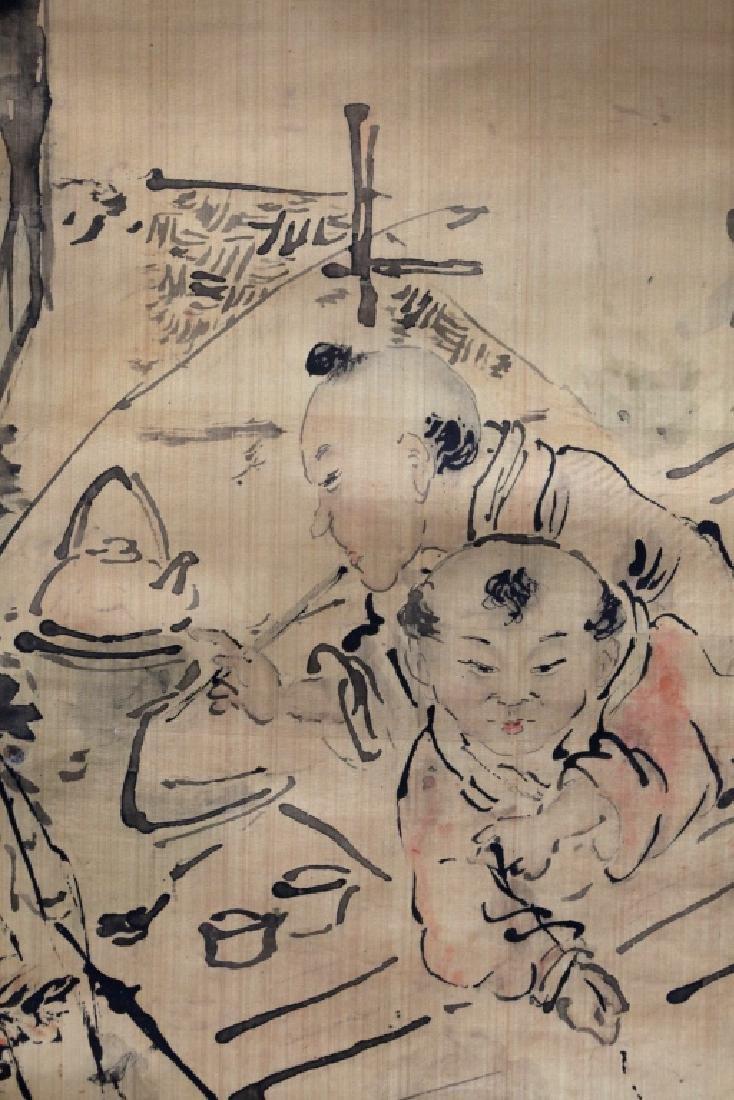 Chinese Ink Painting on Silk; 3 Men Fishing - 6