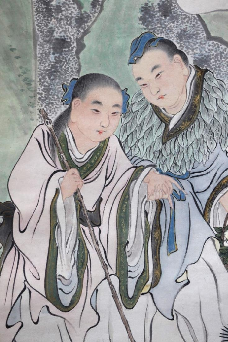 Chinese Ink Painting on Paper; Figures in a Garden - 7