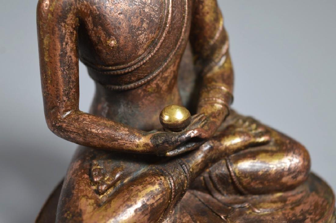 Tibetan 16th Century Bronze Seated Buddha - 3