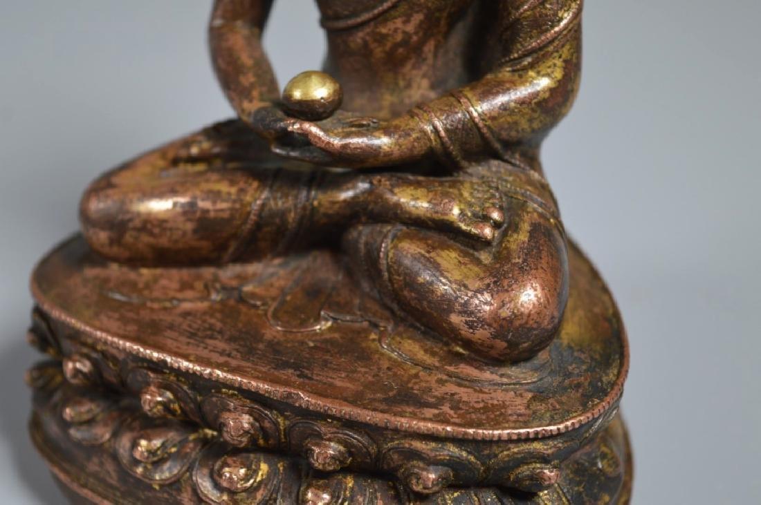 Tibetan 16th Century Bronze Seated Buddha - 4