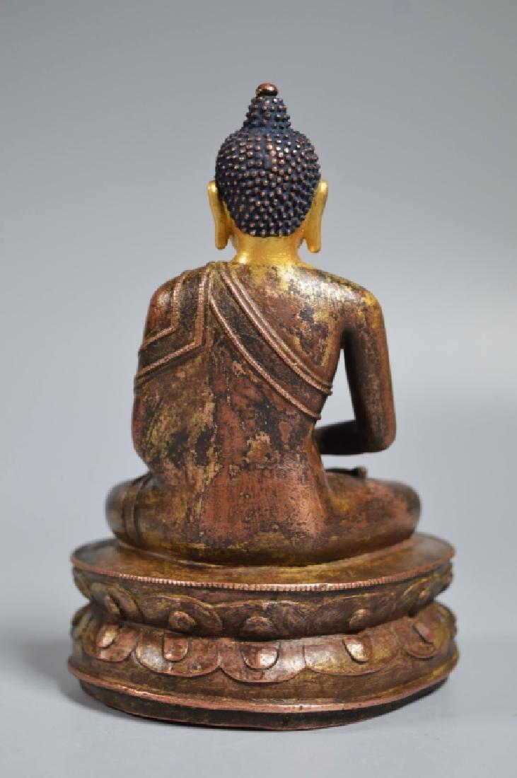 Tibetan 16th Century Bronze Seated Buddha - 6