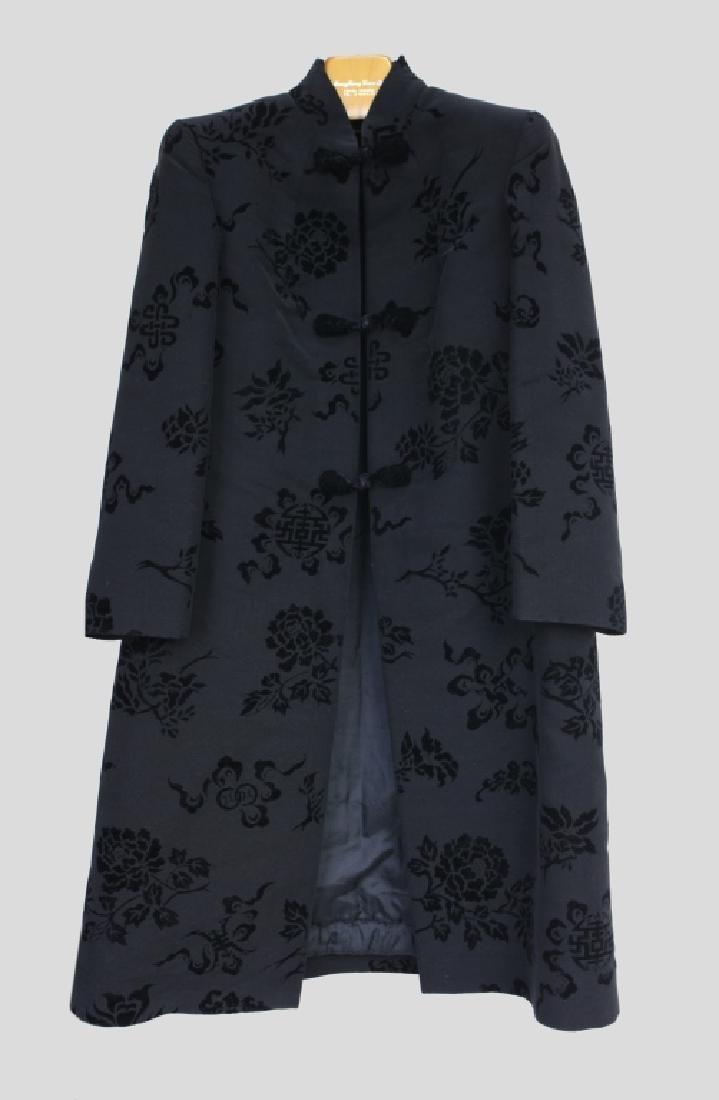 Hong Kong Chinese Mandarin Black Silk Velvet Coat