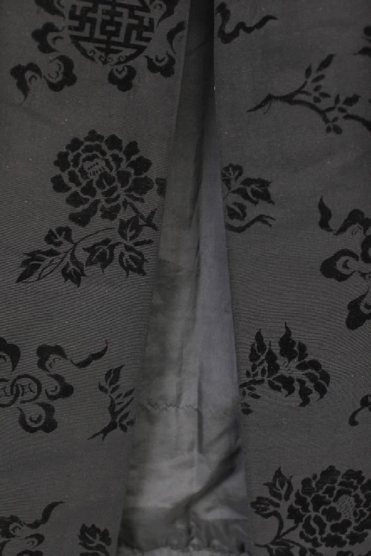 Hong Kong Chinese Mandarin Black Silk Velvet Coat - 5