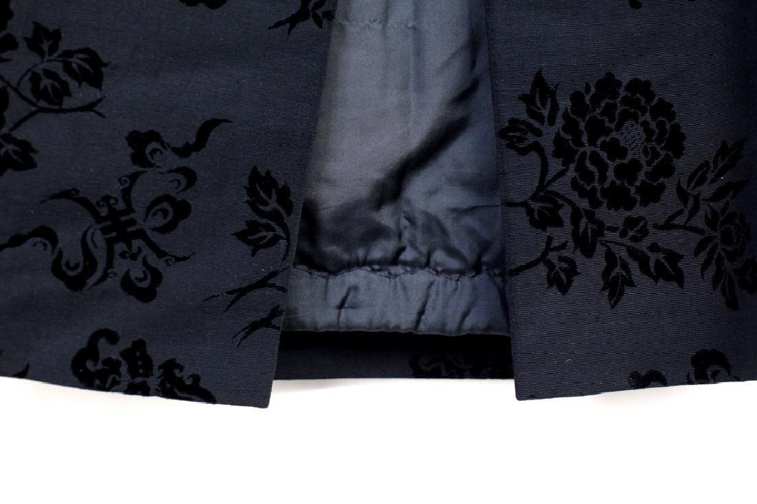 Hong Kong Chinese Mandarin Black Silk Velvet Coat - 6