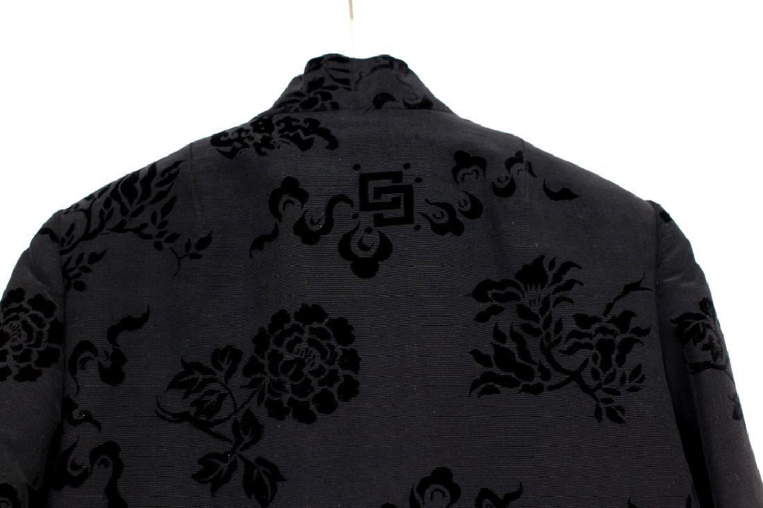 Hong Kong Chinese Mandarin Black Silk Velvet Coat - 7