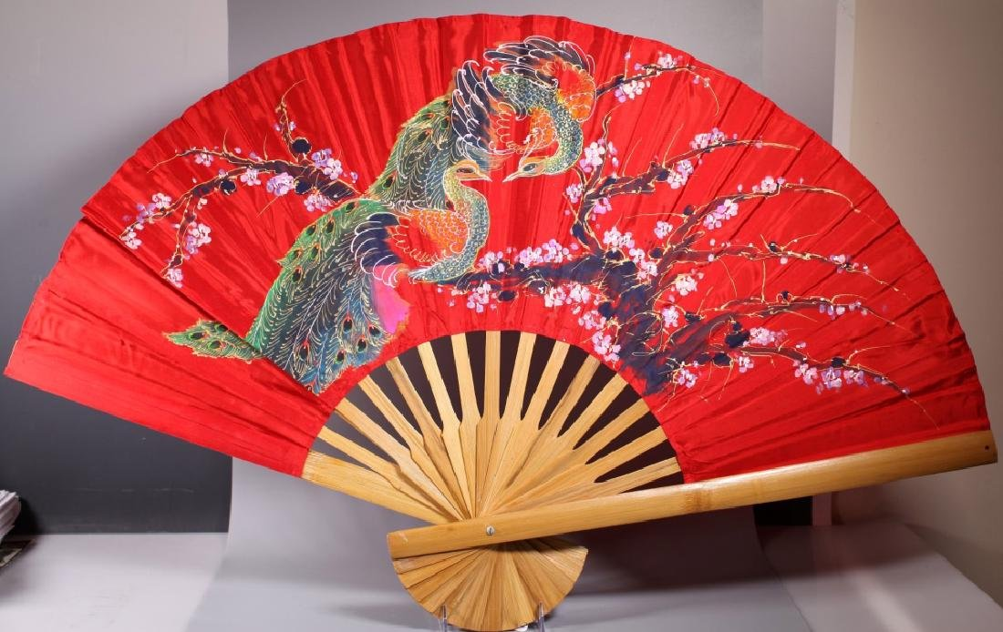 Large Chinese Painted Peacock Fan on Bamboo