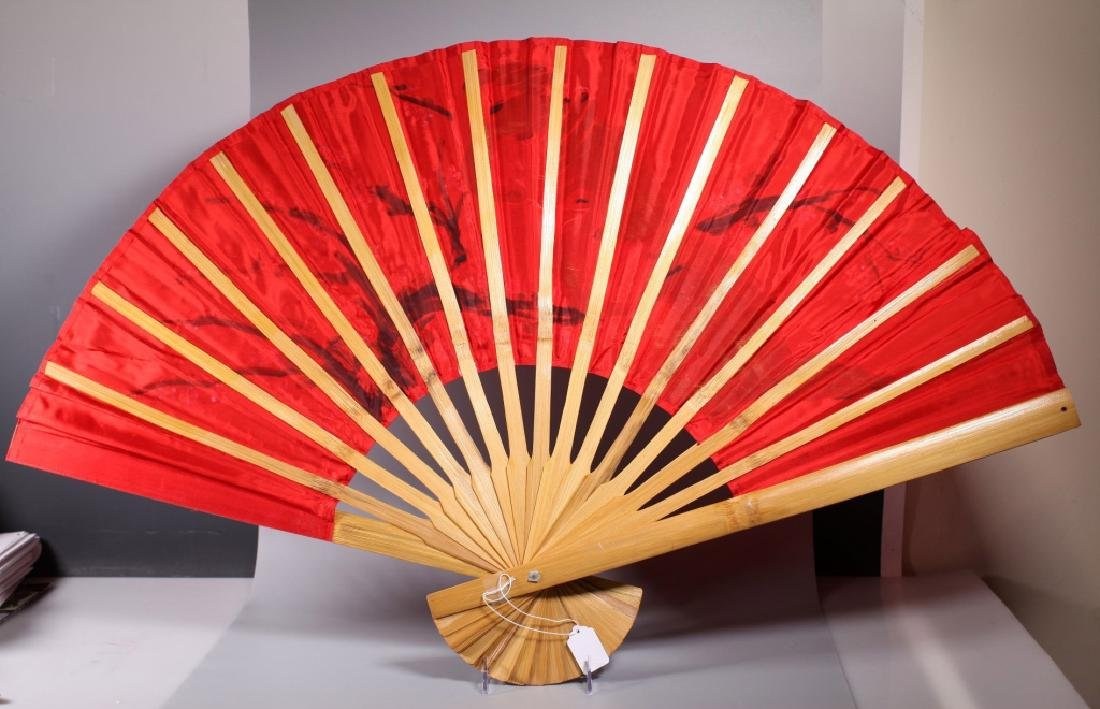 Large Chinese Painted Peacock Fan on Bamboo - 4