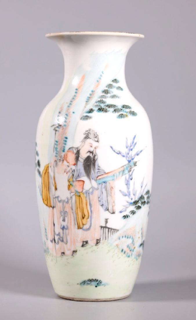 Chinese Artist Painted Porcelain Scholars Vase