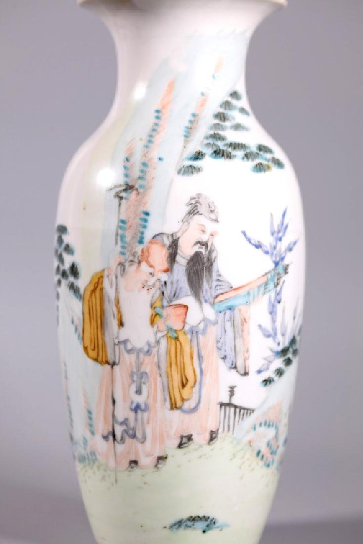 Chinese Artist Painted Porcelain Scholars Vase - 5