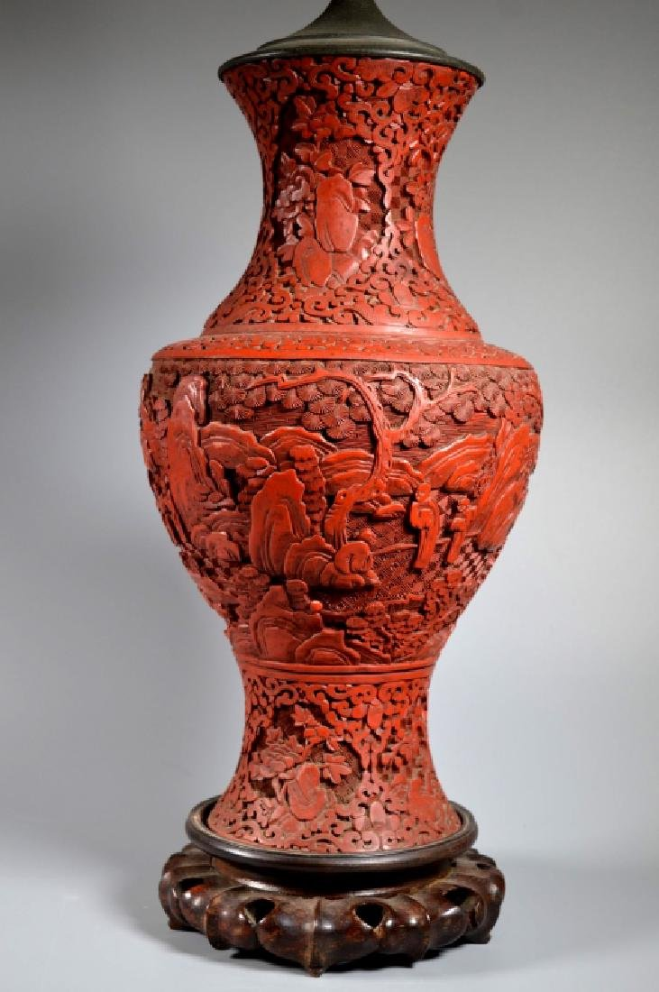 Large Chinese Carved Red Cinnabar Lacquer Vase