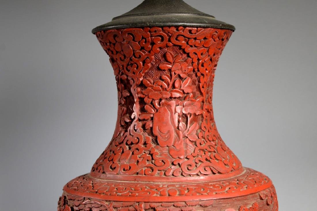 Large Chinese Carved Red Cinnabar Lacquer Vase - 3