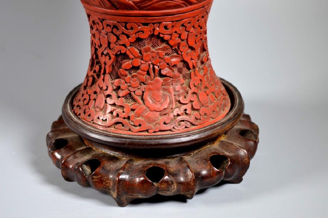 Large Chinese Carved Red Cinnabar Lacquer Vase - 5