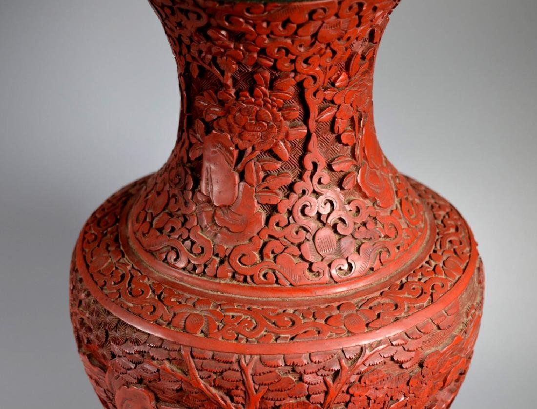 Large Chinese Carved Red Cinnabar Lacquer Vase - 6