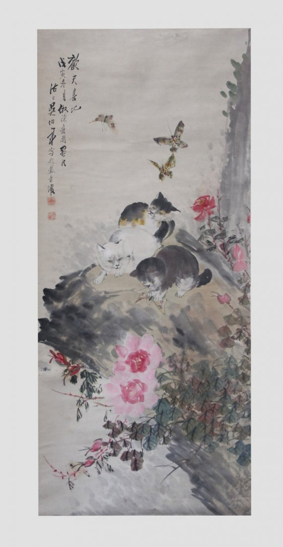 Chinese Painting on Paper; 3 Kittens & Butterflies