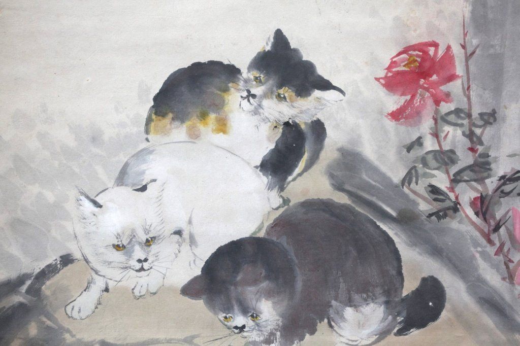 Chinese Painting on Paper; 3 Kittens & Butterflies - 7
