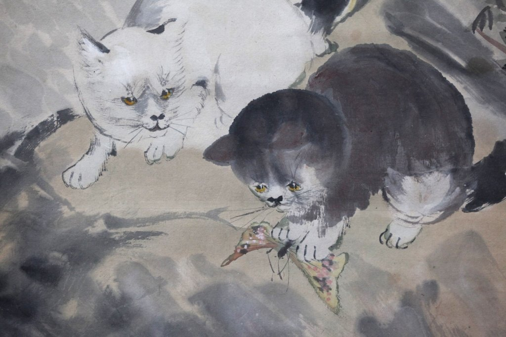 Chinese Painting on Paper; 3 Kittens & Butterflies - 8