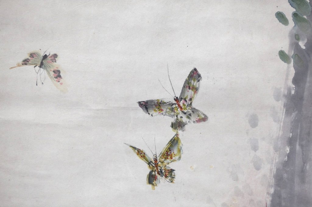 Chinese Painting on Paper; 3 Kittens & Butterflies - 9