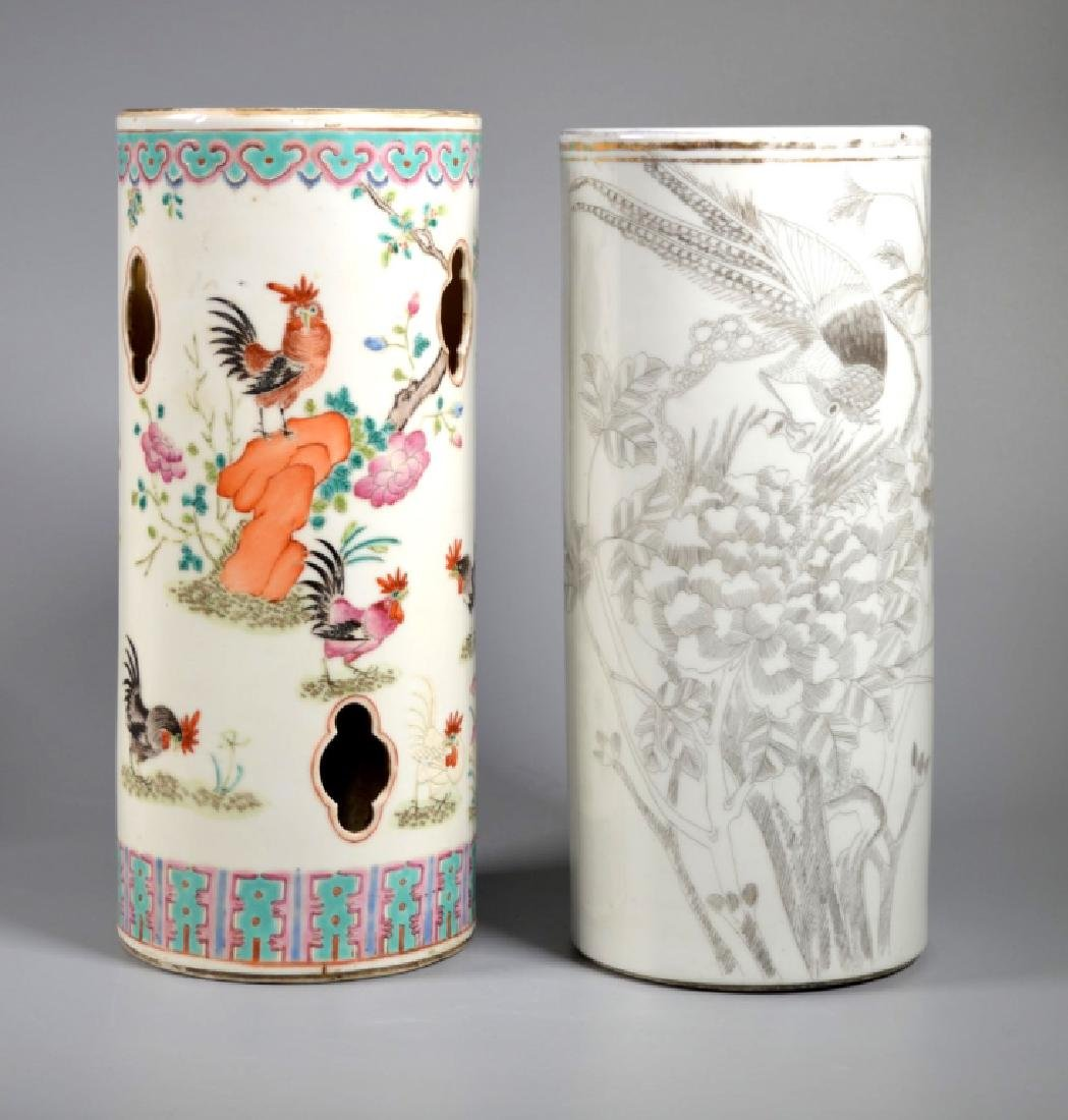 Two Chinese Late Qing Porcelain Hat Stands
