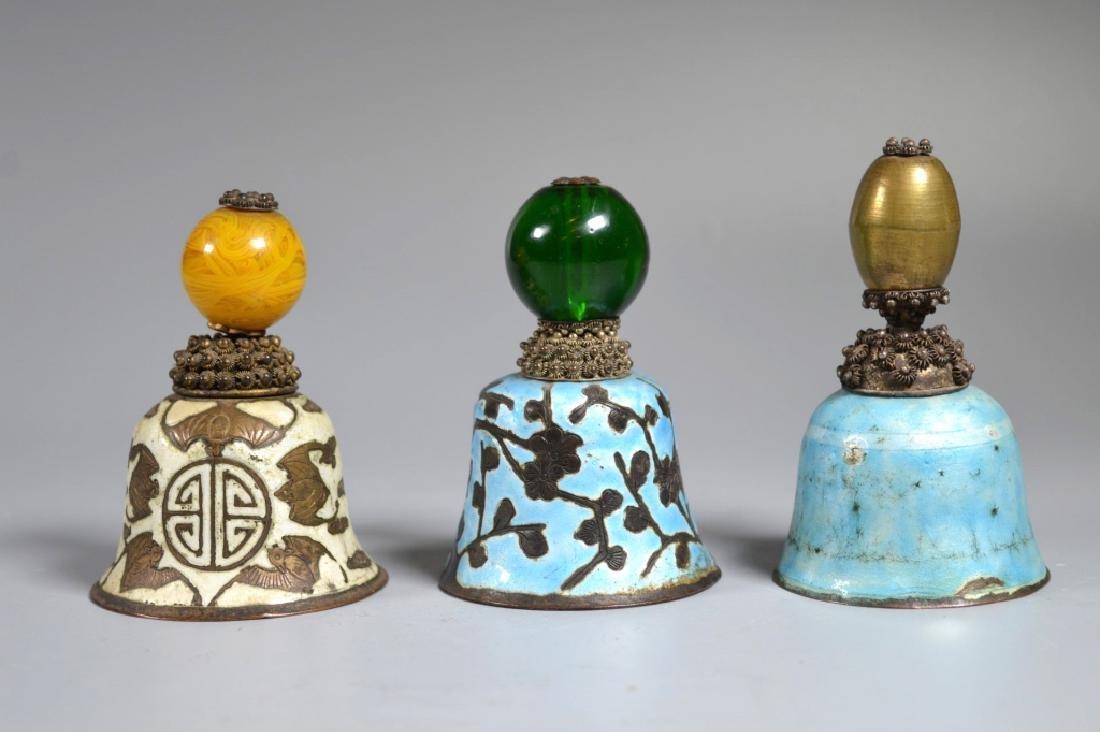 3 Chinese Manchu Rank Hat Balls Mounted on Bells