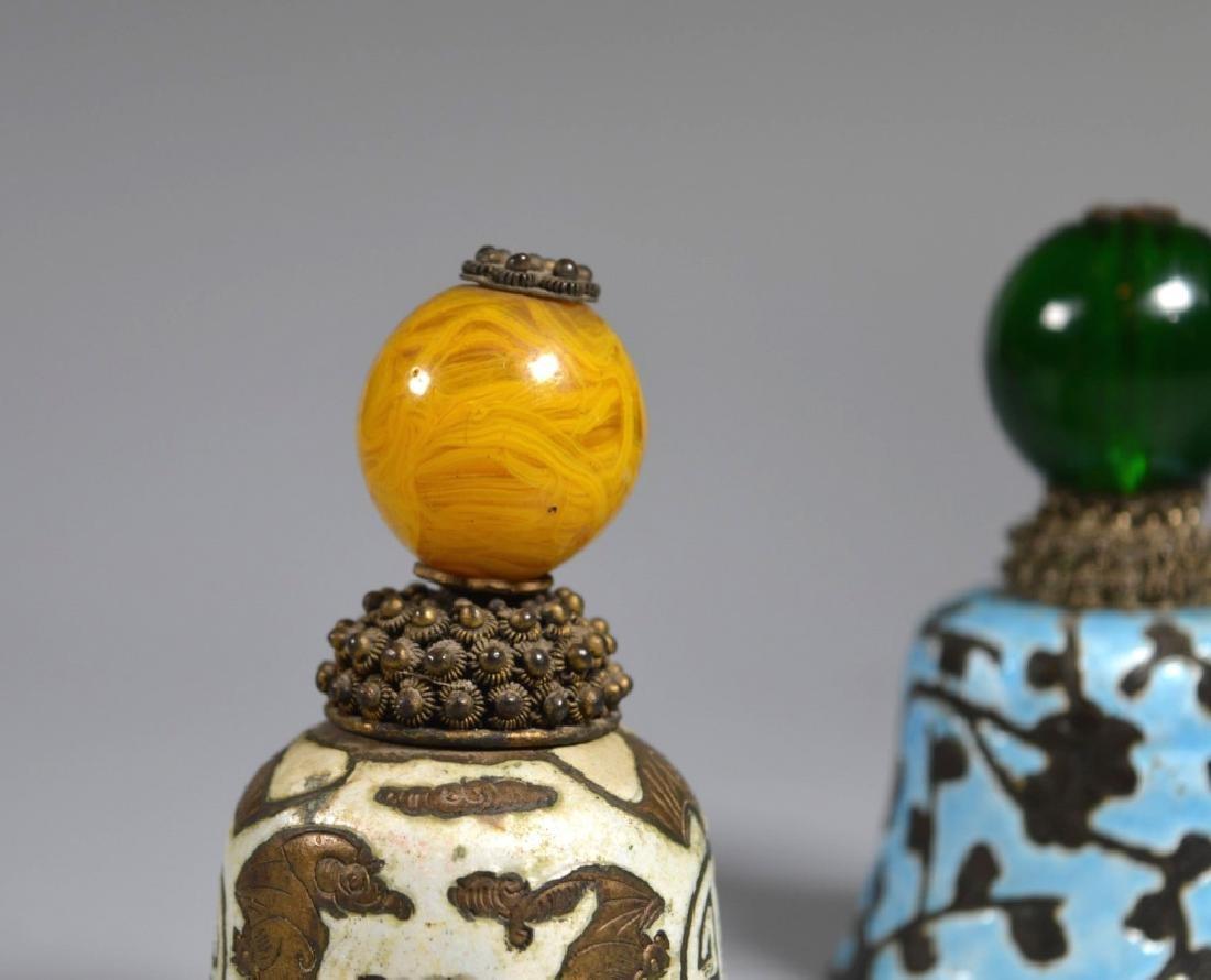 3 Chinese Manchu Rank Hat Balls Mounted on Bells - 2