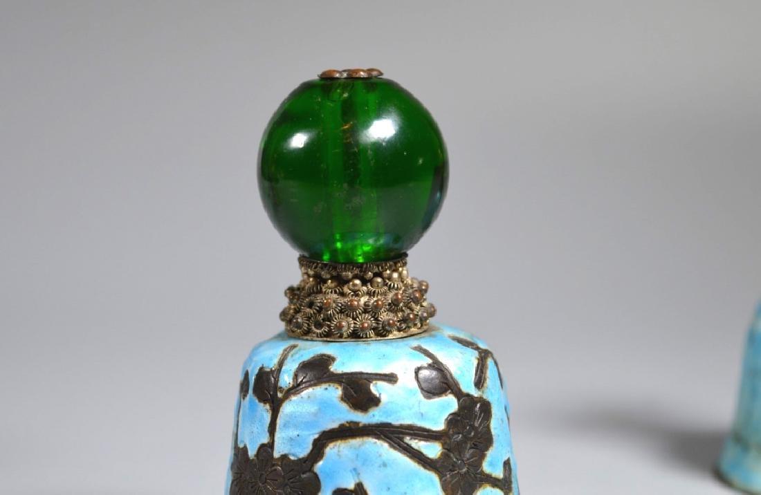 3 Chinese Manchu Rank Hat Balls Mounted on Bells - 4